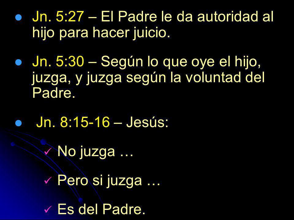 Jn. 5:27 – El Padre le da autoridad al hijo para hacer juicio.