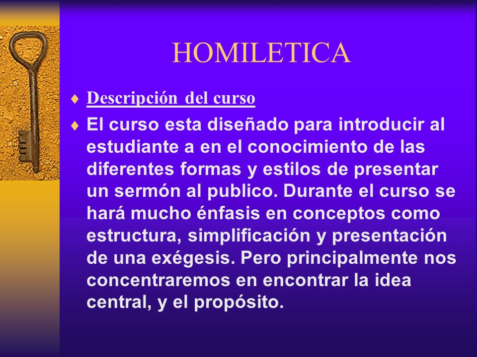 HOMILETICA Descripción del curso