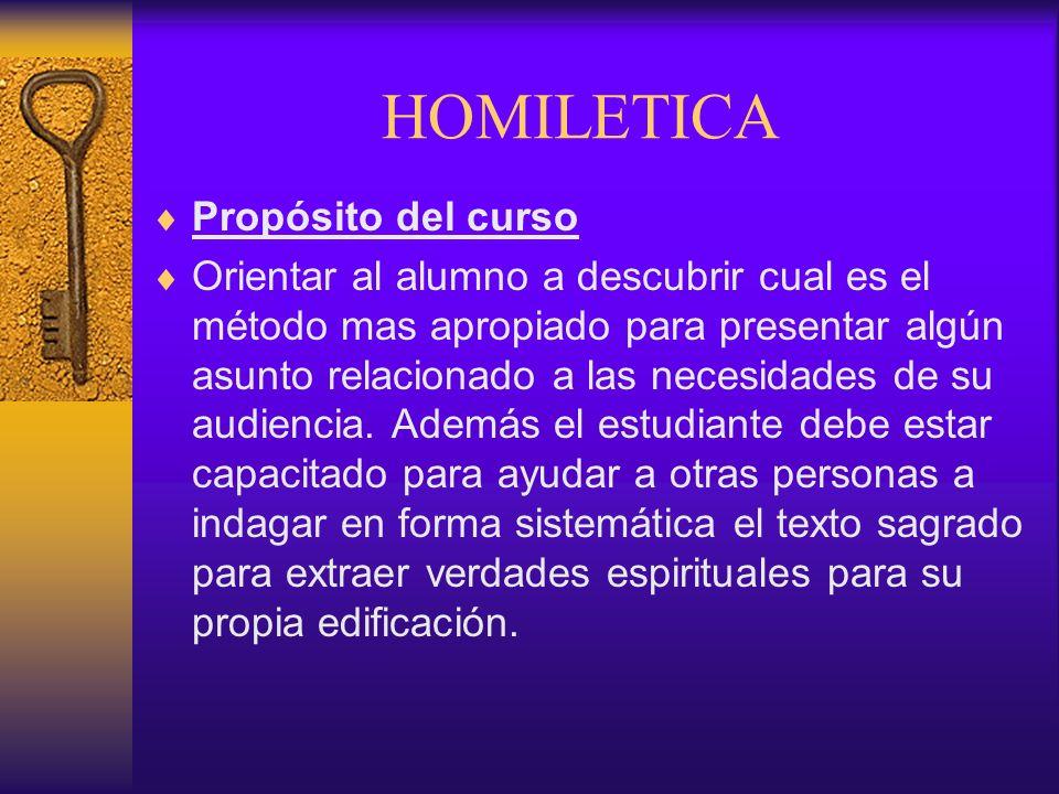 HOMILETICA Propósito del curso