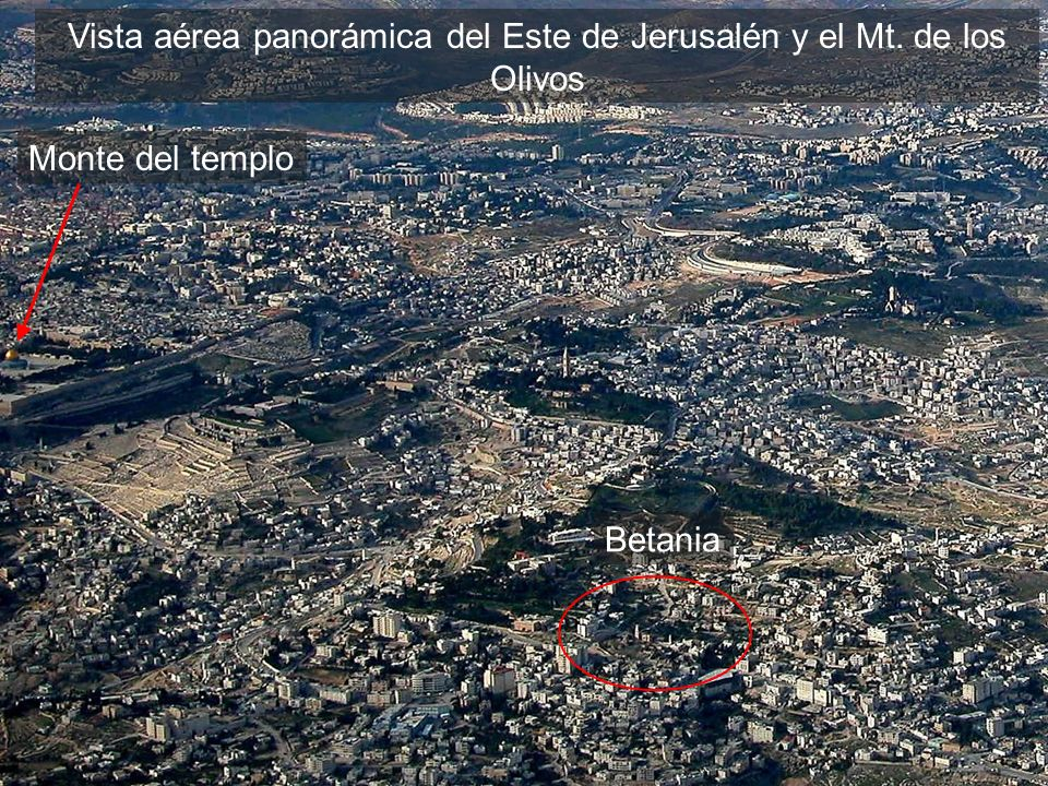 East Jerusalem and Mt of Olives aerial from s close-up
