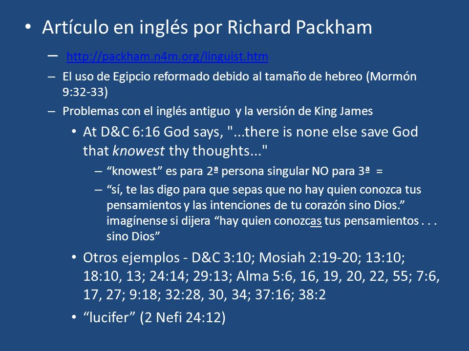 Artículo en inglés por Richard Packham