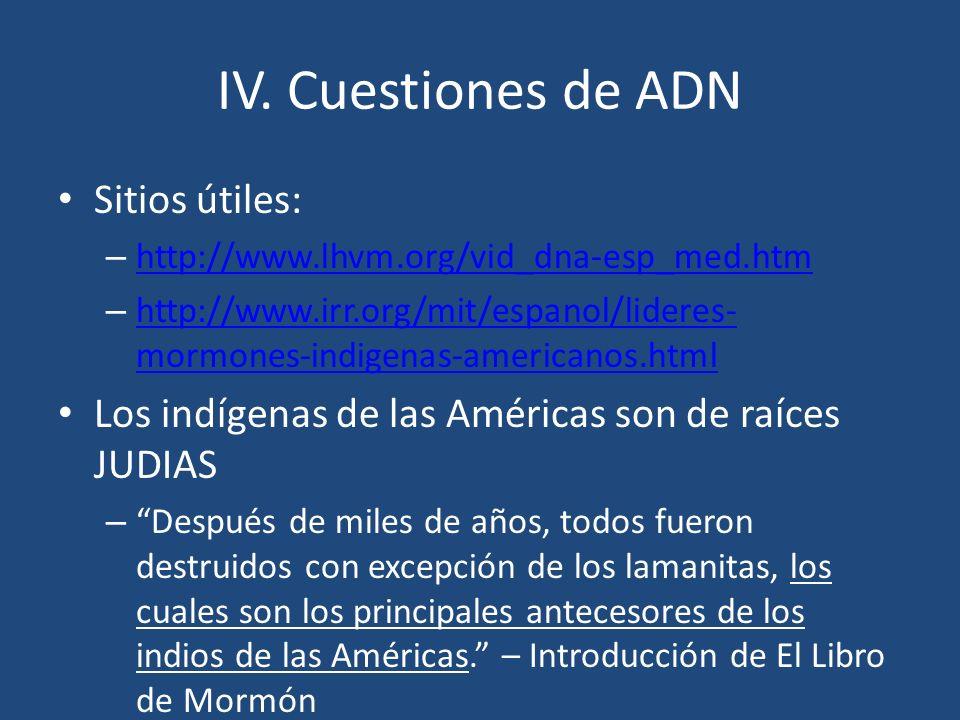IV. Cuestiones de ADN Sitios útiles: