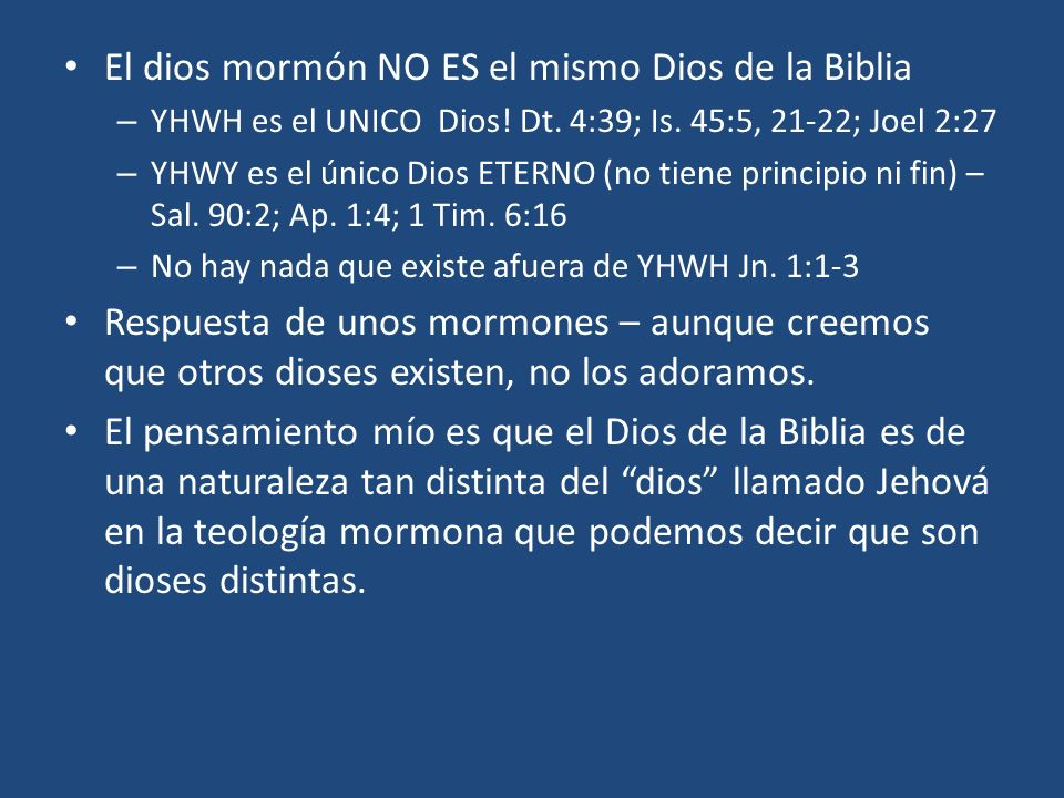 El dios mormón NO ES el mismo Dios de la Biblia