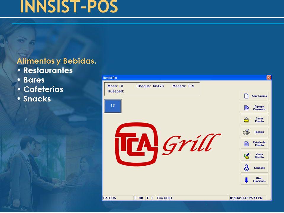 INNSIST-POS Alimentos y Bebidas. Restaurantes Bares Cafeterías Snacks
