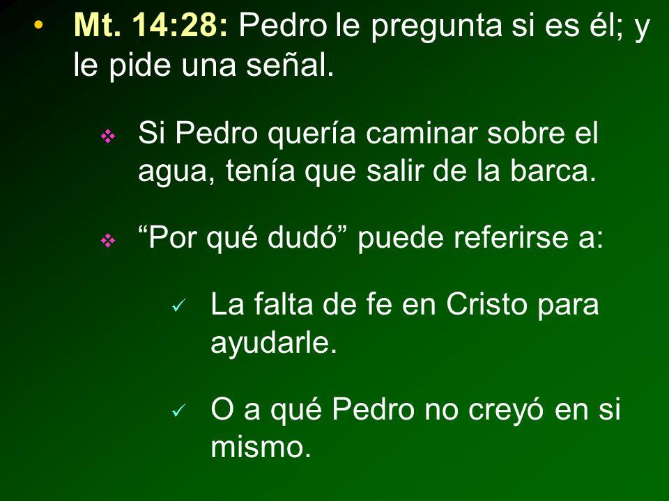 Mt. 14:28: Pedro le pregunta si es él; y le pide una señal.