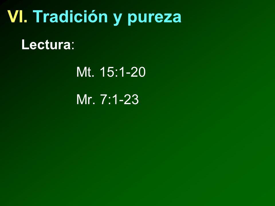 VI. Tradición y pureza Lectura: Mt. 15:1-20 Mr. 7:1-23