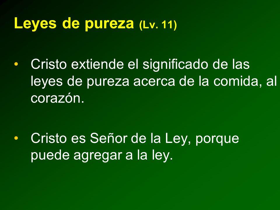 Leyes de pureza (Lv. 11) Cristo extiende el significado de las leyes de pureza acerca de la comida, al corazón.
