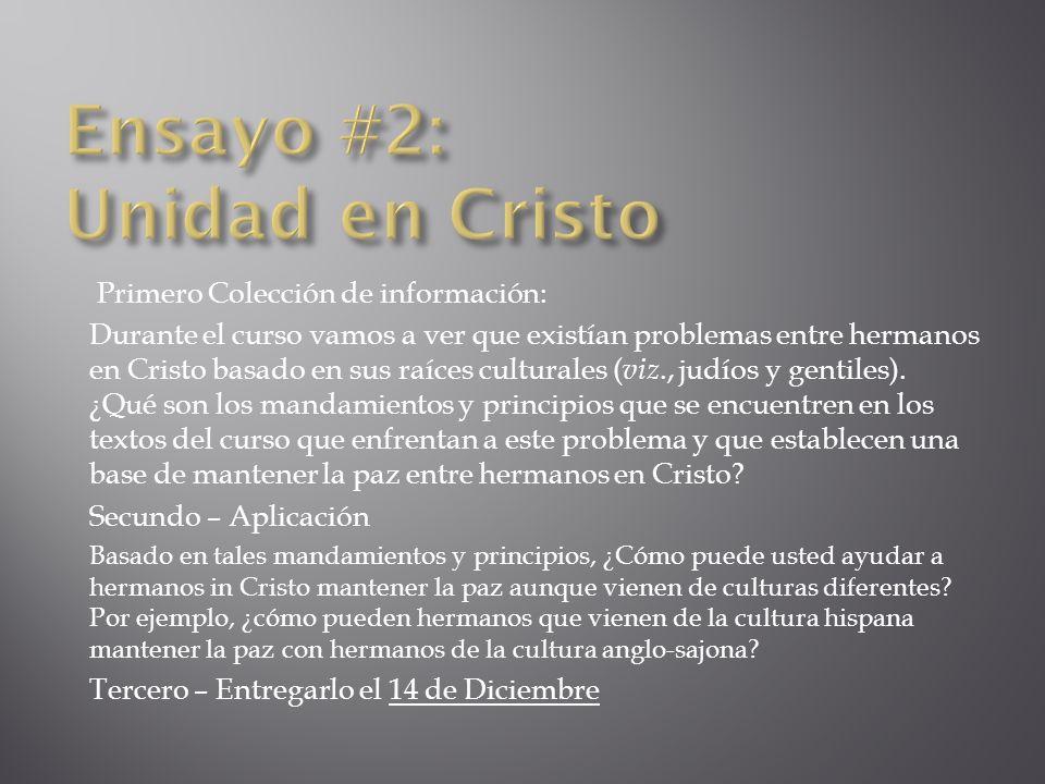 Ensayo #2: Unidad en Cristo