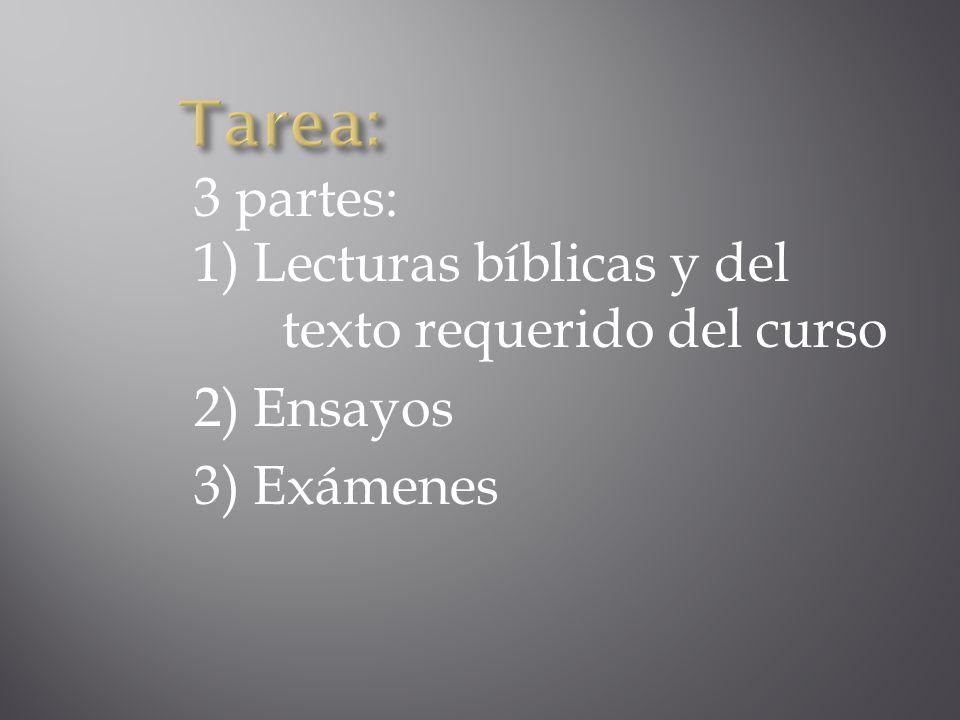 Tarea: 3 partes: 1) Lecturas bíblicas y del texto requerido del curso