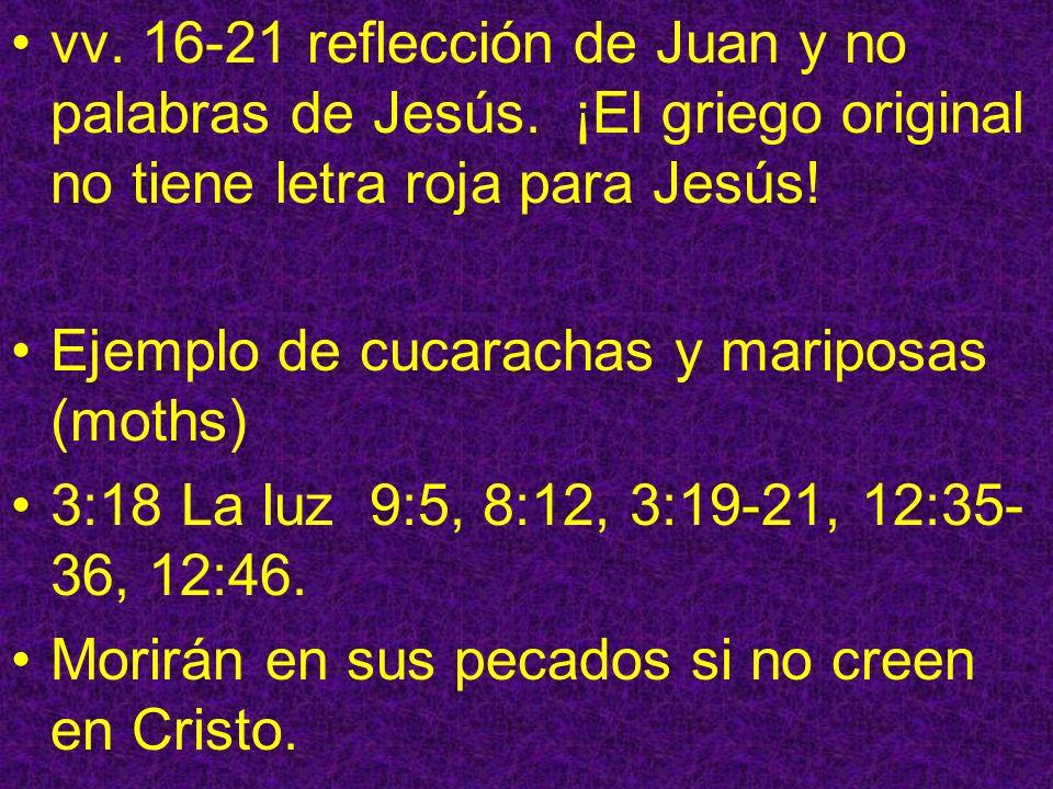 vv. 16-21 reflección de Juan y no palabras de Jesús