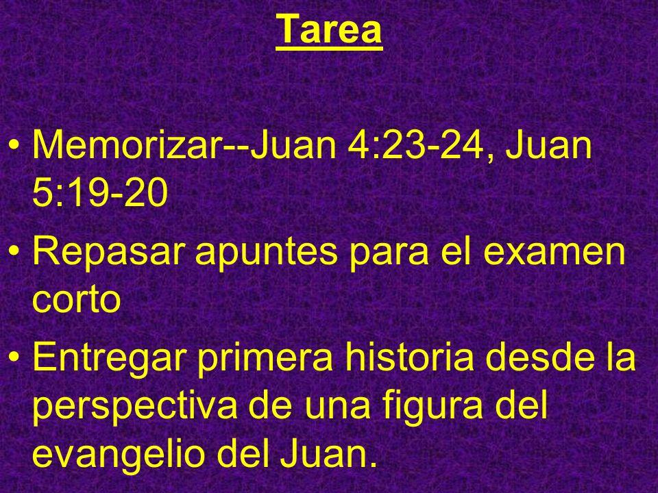 Tarea Memorizar--Juan 4:23-24, Juan 5:19-20. Repasar apuntes para el examen corto.