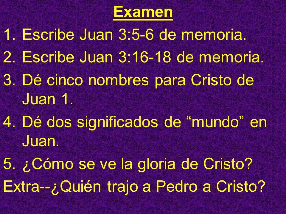 Examen Escribe Juan 3:5-6 de memoria. Escribe Juan 3:16-18 de memoria. Dé cinco nombres para Cristo de Juan 1.
