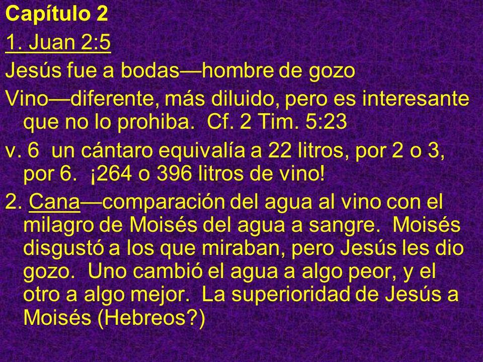 Capítulo 21. Juan 2:5. Jesús fue a bodas—hombre de gozo. Vino—diferente, más diluido, pero es interesante que no lo prohiba. Cf. 2 Tim. 5:23.