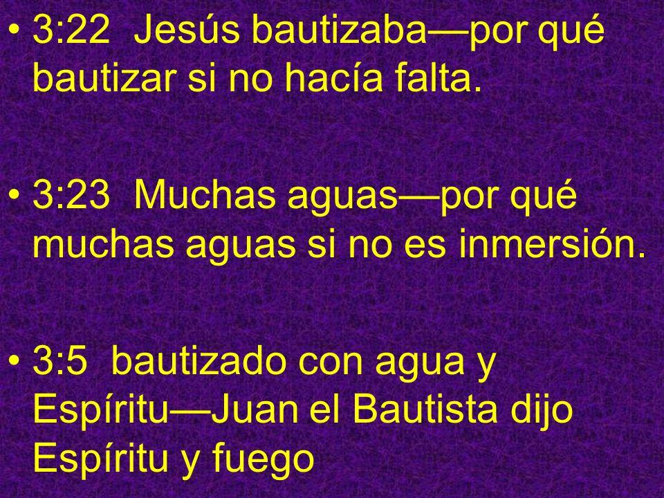3:22 Jesús bautizaba—por qué bautizar si no hacía falta.