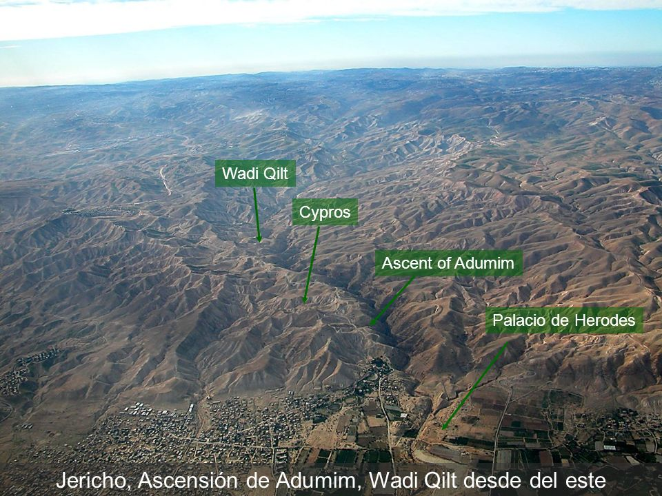 Jericho, Ascent of Adumim, Wadi Qilt aerial from east