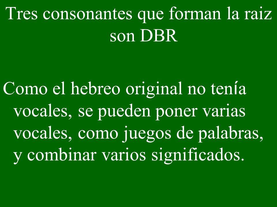 Tres consonantes que forman la raiz son DBR