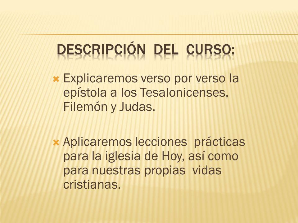 DESCRIPCIÓN DEL CURSO: