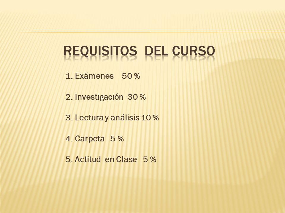Requisitos del curso 1. Exámenes 50 % 2. Investigación 30 %