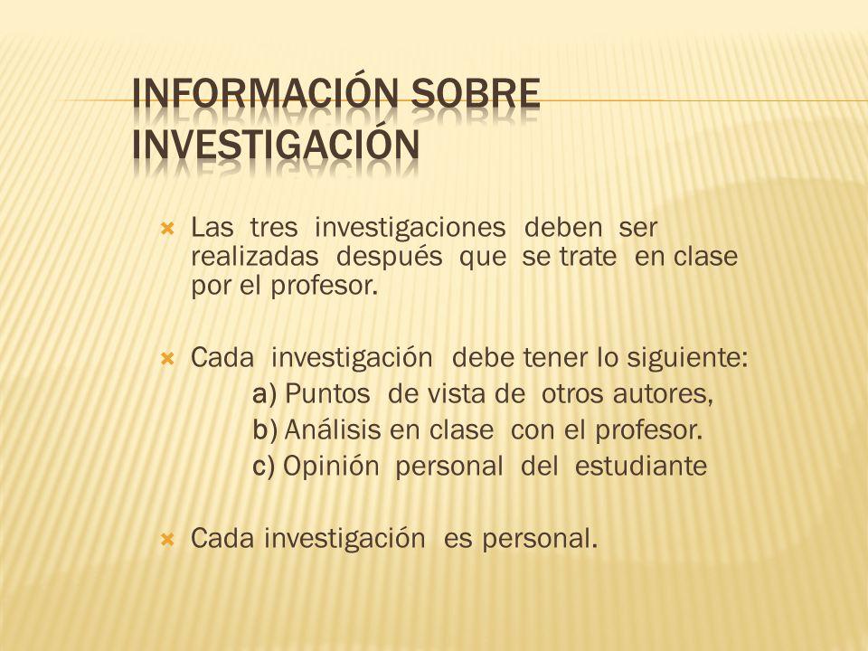 Información sobre investigación