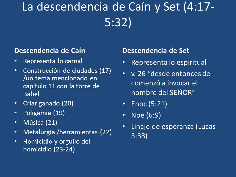 La descendencia de Caín y Set (4:17-5:32)