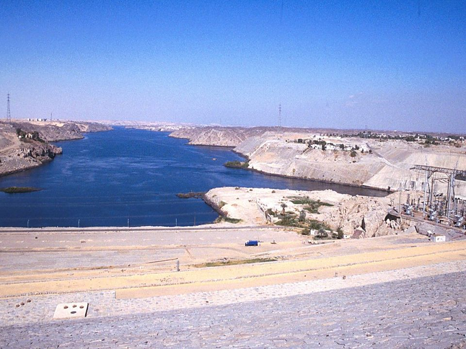 Aswan High Dam with view of Nile looking north