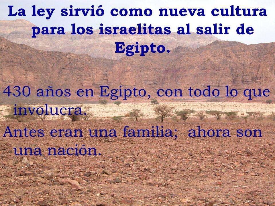 La ley sirvió como nueva cultura para los israelitas al salir de Egipto.