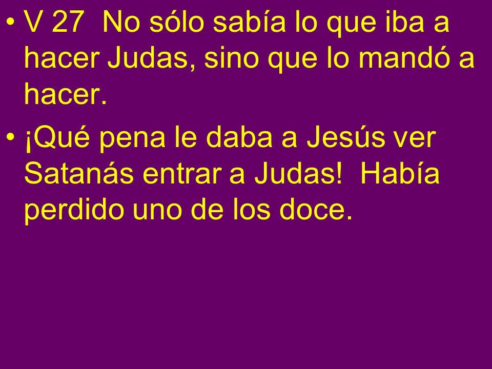 V 27 No sólo sabía lo que iba a hacer Judas, sino que lo mandó a hacer.