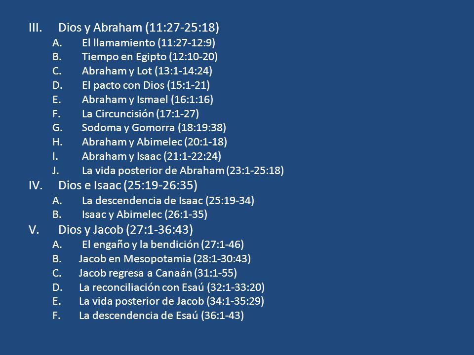 Dios y Abraham (11:27-25:18) Dios e Isaac (25:19-26:35)