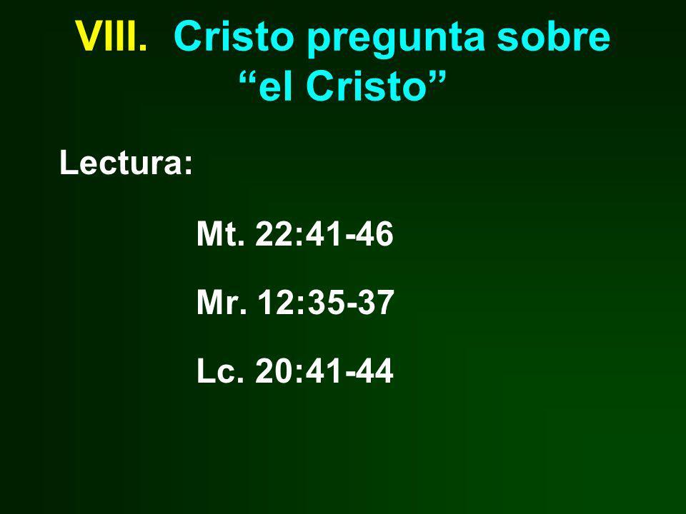 VIII. Cristo pregunta sobre el Cristo