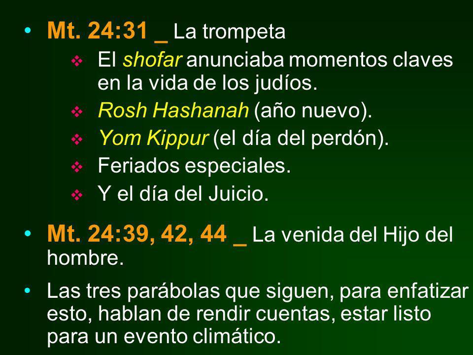 Mt. 24:39, 42, 44 _ La venida del Hijo del hombre.