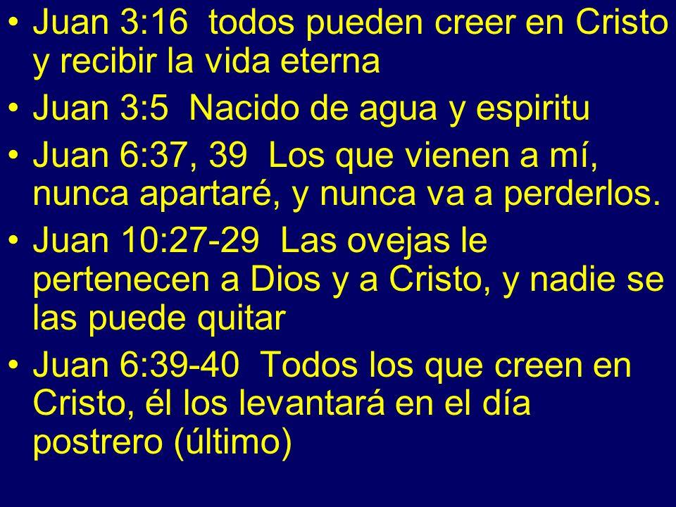 Juan 3:16 todos pueden creer en Cristo y recibir la vida eterna