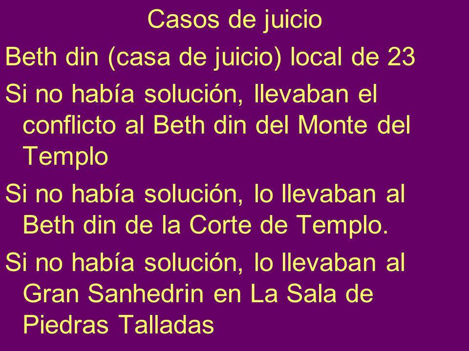 Casos de juicio Beth din (casa de juicio) local de 23. Si no había solución, llevaban el conflicto al Beth din del Monte del Templo.