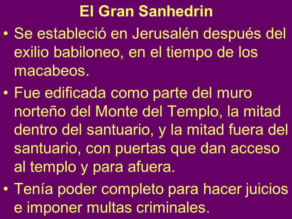 El Gran Sanhedrin Se estableció en Jerusalén después del exilio babiloneo, en el tiempo de los macabeos.