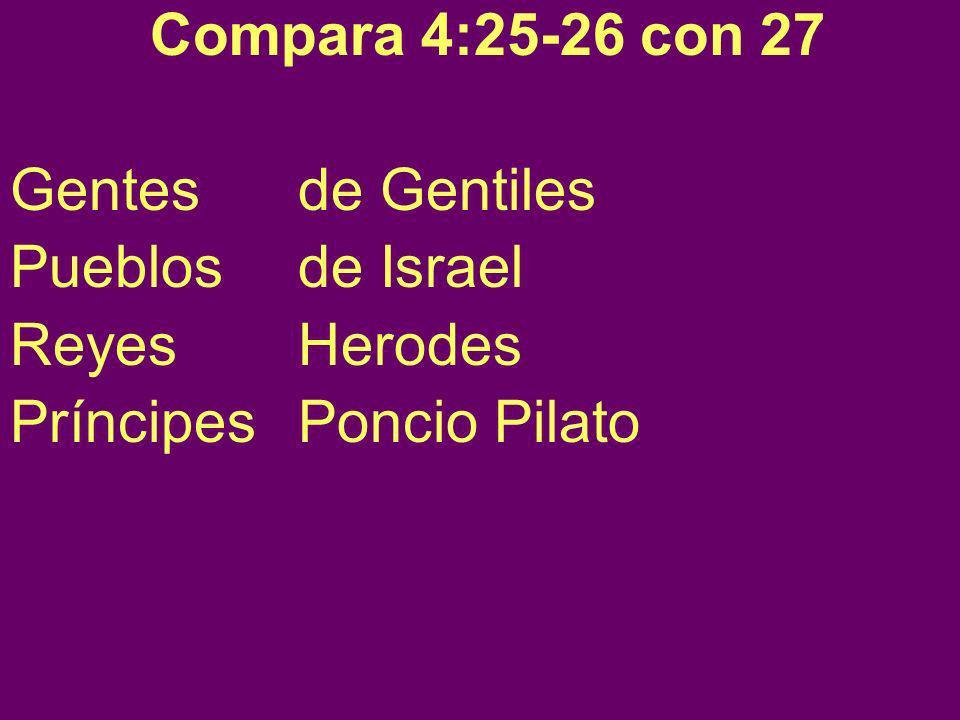 Compara 4:25-26 con 27 Gentes de Gentiles. Pueblos de Israel.