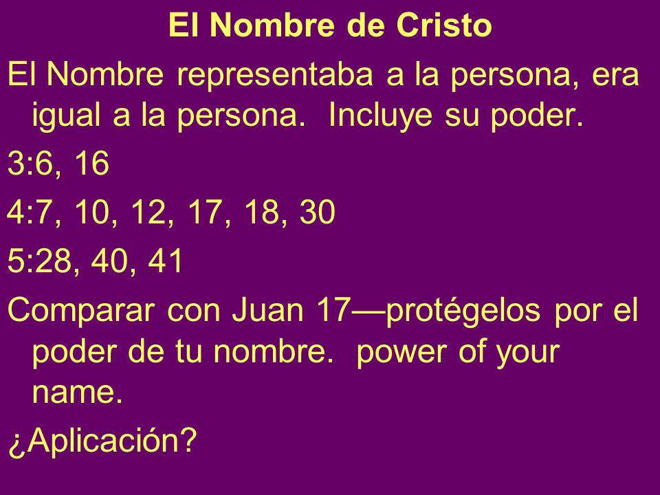 El Nombre de Cristo El Nombre representaba a la persona, era igual a la persona. Incluye su poder.