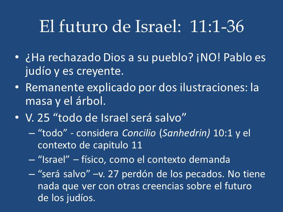 El futuro de Israel: 11:1-36 ¿Ha rechazado Dios a su pueblo ¡NO! Pablo es judío y es creyente.