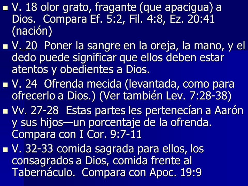 V. 18 olor grato, fragante (que apacigua) a Dios. Compara Ef. 5:2, Fil