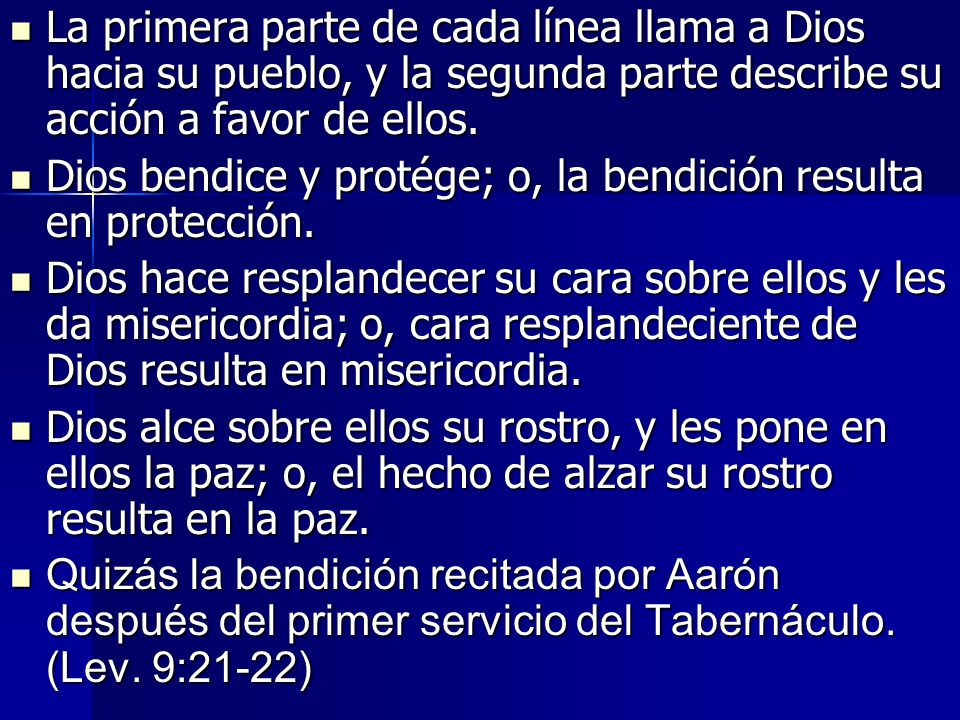 La primera parte de cada línea llama a Dios hacia su pueblo, y la segunda parte describe su acción a favor de ellos.