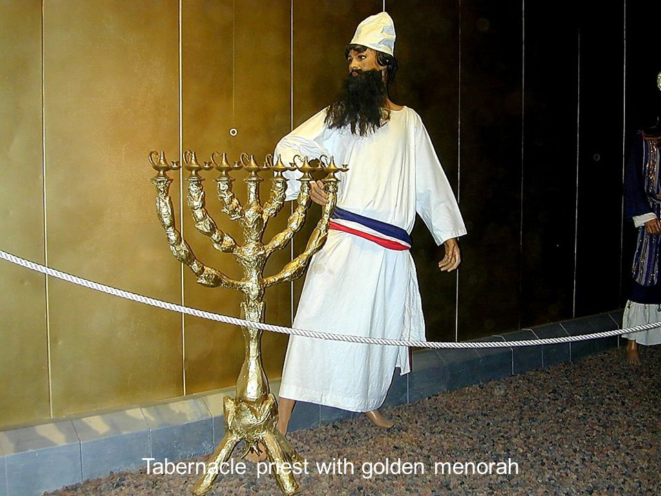 Tabernacle priest with golden menorah