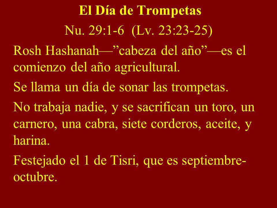 El Día de Trompetas Nu. 29:1-6 (Lv. 23:23-25) Rosh Hashanah— cabeza del año —es el comienzo del año agricultural.