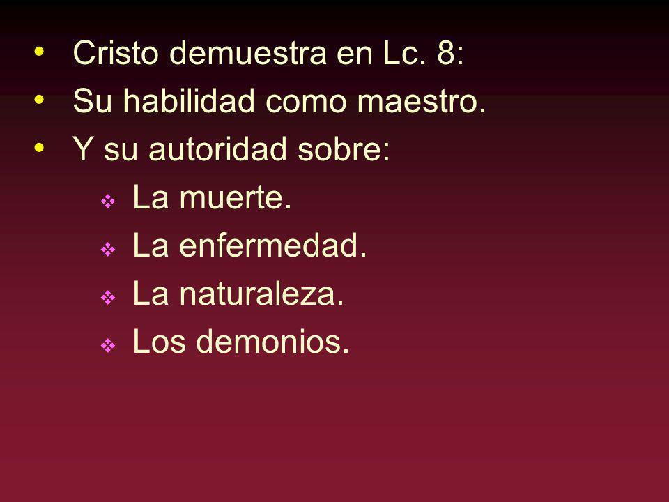 Cristo demuestra en Lc. 8: