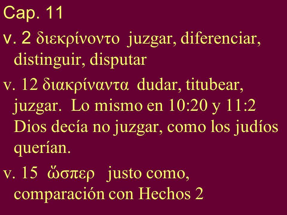 Cap. 11v. 2 διεκρίνοντο juzgar, diferenciar, distinguir, disputar.
