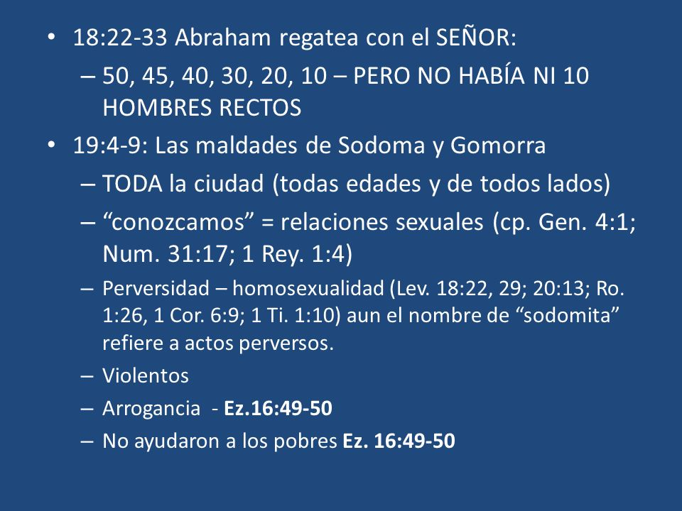 18:22-33 Abraham regatea con el SEÑOR: