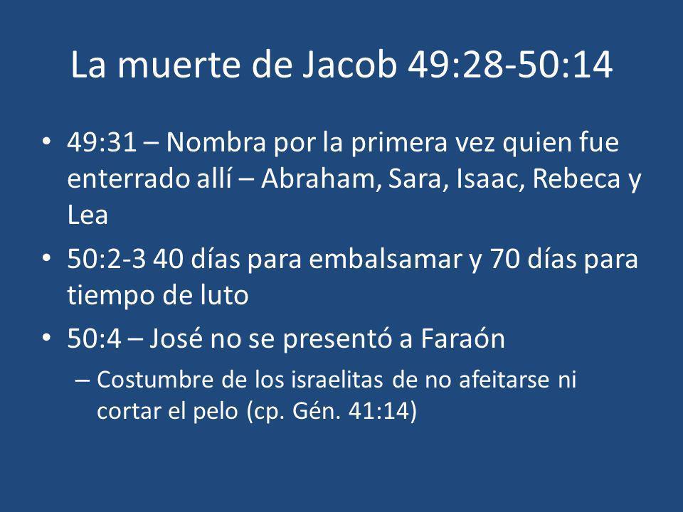 La muerte de Jacob 49:28-50:14 49:31 – Nombra por la primera vez quien fue enterrado allí – Abraham, Sara, Isaac, Rebeca y Lea.