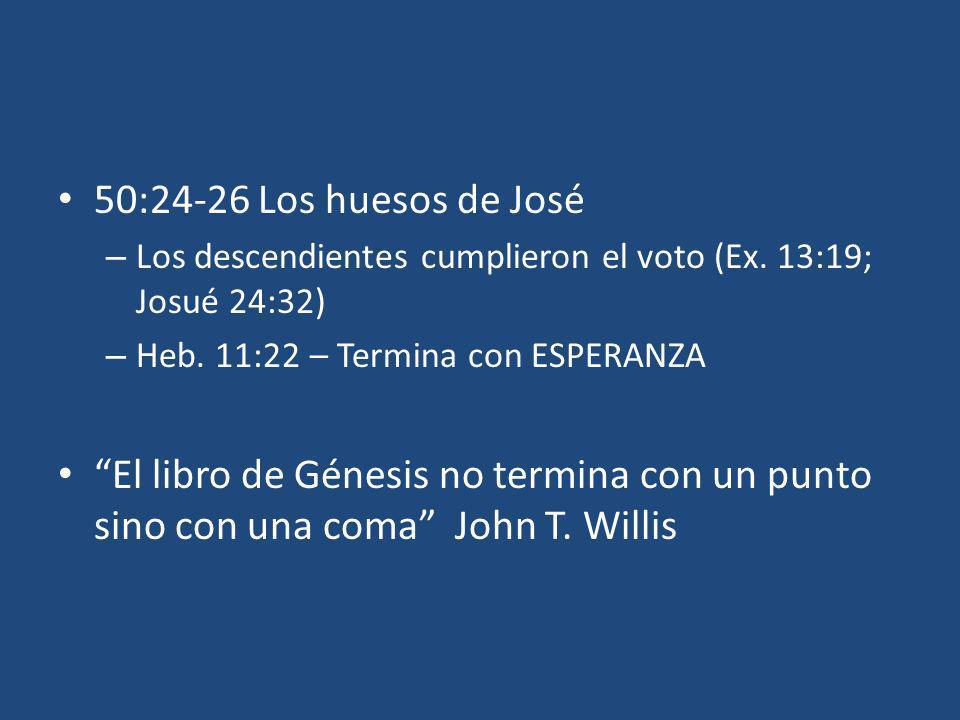 50:24-26 Los huesos de José Los descendientes cumplieron el voto (Ex. 13:19; Josué 24:32) Heb. 11:22 – Termina con ESPERANZA.