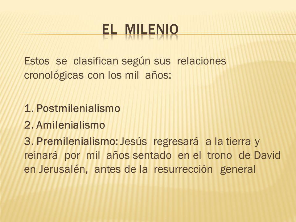 El milenio Estos se clasifican según sus relaciones cronológicas con los mil años: 1. Postmilenialismo.