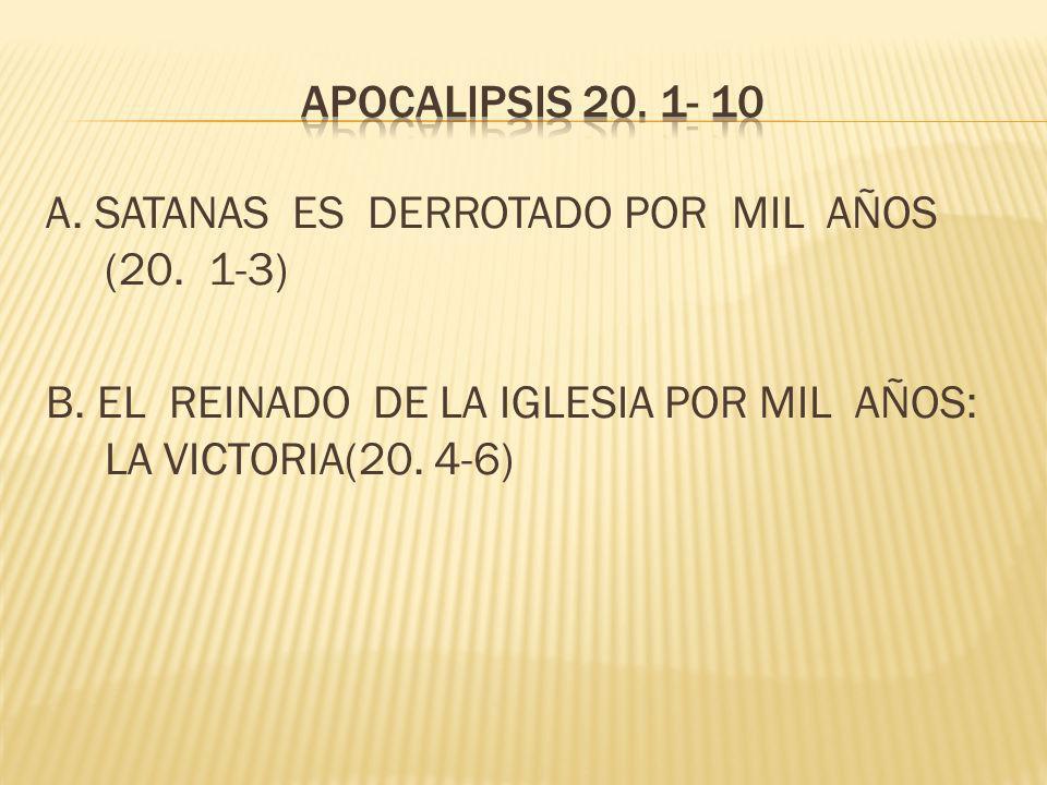 APOCALIPSIS 20. 1- 10 A. SATANAS ES DERROTADO POR MIL AÑOS (20.