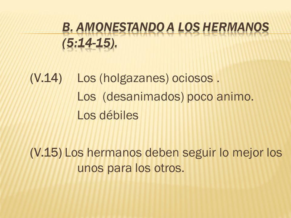 B. AMONESTANDO A LOS HERMANOS (5:14-15).