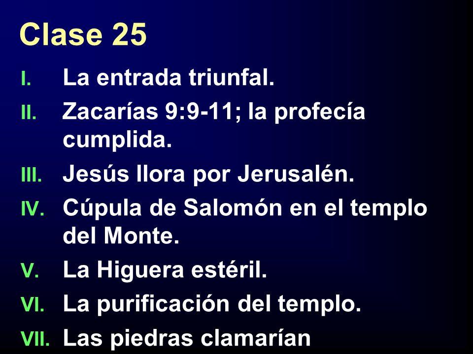 Clase 25 La entrada triunfal. Zacarías 9:9-11; la profecía cumplida.