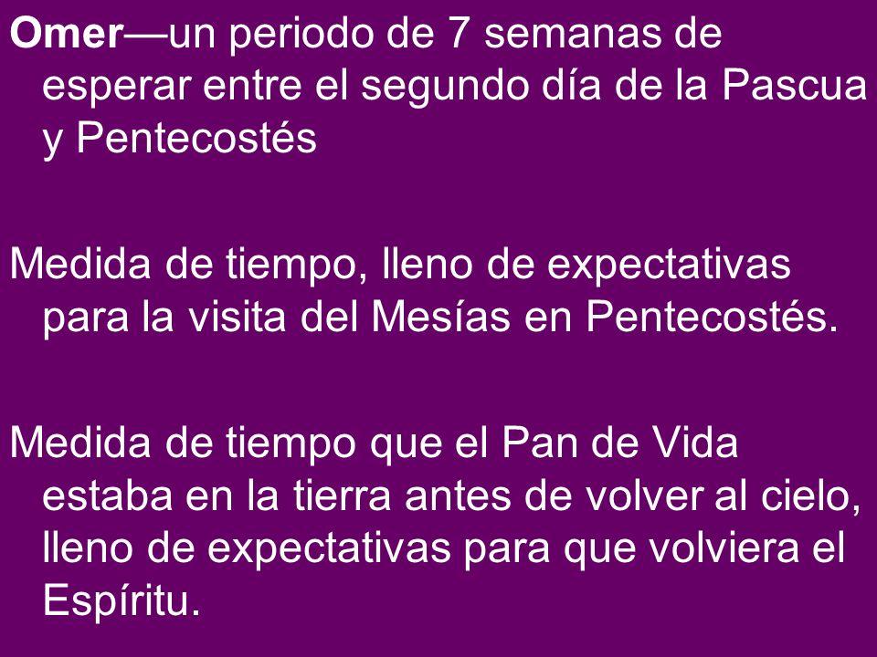 Omer—un periodo de 7 semanas de esperar entre el segundo día de la Pascua y Pentecostés